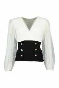 Womens Mesh Puff Sleeve Gold Button Blouse - White - M, White