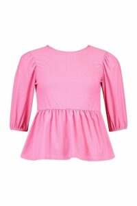 Womens Puff Sleeve Peplum Top - Pink - 14, Pink