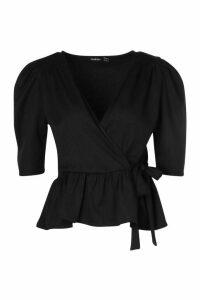 Womens Woven Peplum Wrap Tie Top - Black - 16, Black