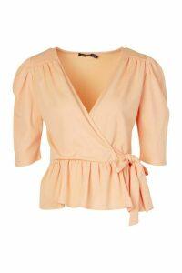 Womens Woven Peplum Wrap Tie Top - Orange - 16, Orange