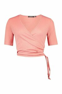 Womens Jumbo Rib Wrap Ruched Side Top - Pink - 14, Pink