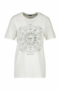 Womens Zodiac Print Slogan T-Shirt - White - Xl, White