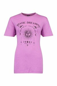 Womens Mystic Dreaming Slogan T-Shirt - Purple - M, Purple