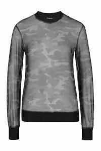 Womens Long Sleeve Camo Heart Mesh Top - Grey - 14, Grey