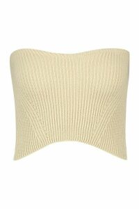 Womens Ribbed Knit Bandeau Top - Beige - L, Beige