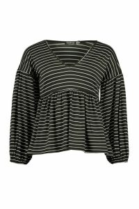 Womens V Neck Stripe Smock Top - Black - 12, Black