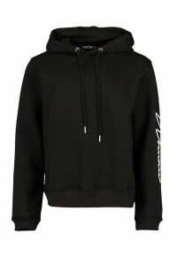 Womens Woman Hood Print Oversized Hoody - Black - 14, Black