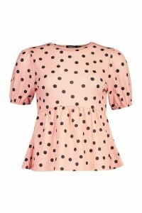 Womens Polka Dot Peplum Top - Pink - 12, Pink