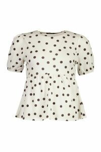 Womens Polka Dot Peplum Top - White - 14, White