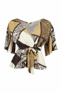 Womens Animal Print Frill Sleeve Blouse - Brown - 12, Brown