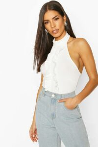 Womens Rib Halter Neck Top With Ruffle Front - White - 14, White