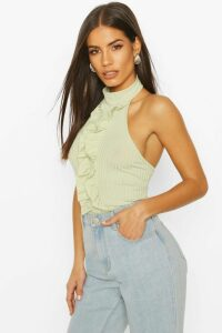 Womens Rib Halter Neck Top With Ruffle Front - Green - 14, Green