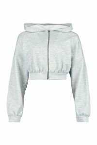 Womens Fit Cropped Zip Through Gym Hoodie - Grey - 14, Grey