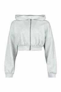 Womens Fit Cropped Zip Through Gym Hoodie - Grey - 14, Grey