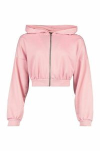 Womens Fit Cropped Zip Through Gym Hoodie - Pink - 16, Pink