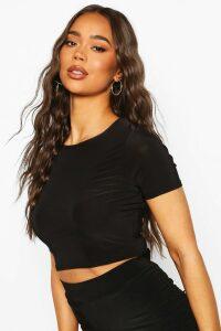 Womens Fit Short Sleeve Gym Crop Top - Black - 16, Black