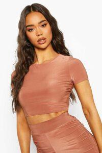 Womens Fit Short Sleeve Gym Crop Top - Brown - 16, Brown