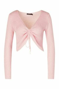 Womens Ribbed Ruched Front Top - Pink - L, Pink