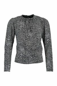 Womens Leopard Print Tie Neck Woven Blouse - Black - 16, Black