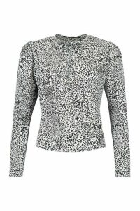 Womens Leopard Print Tie Neck Woven Blouse - White - 16, White
