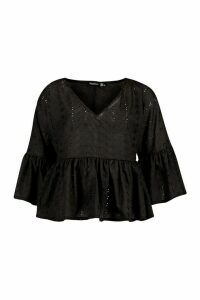Womens Broderie Anglais V Neck Flared Sleeve Smock Top - Black - 14, Black