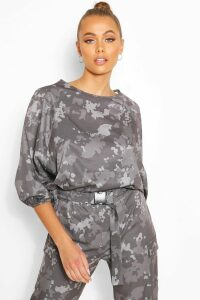 Womens Camo Print Easy Wear Top - Grey - 14, Grey