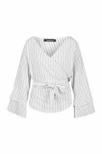Pinstripe Wrap Tie Frill Sleeve Shirt - White - 16, White