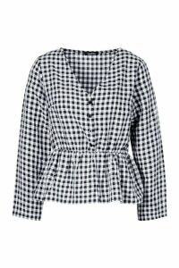 Womens Gingham Check Peplum Blouse - Black - 16, Black