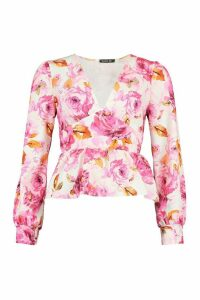 Womens Floral Puff Sleeve Peplum Top - Pink - 16, Pink