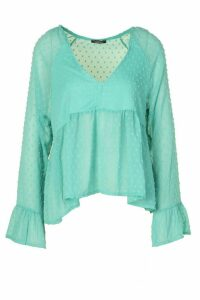 Womens Dobby Frill V Neck Top - Blue - 14, Blue