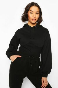 Womens Corset Detail Crop Hoody - Black - 14, Black