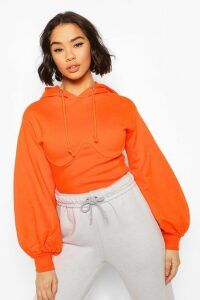 Womens Corset Detail Crop Hoody - Orange - 10, Orange