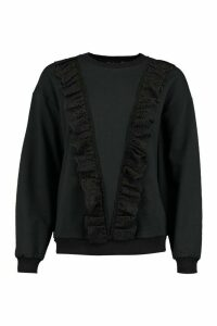 Womens Broderie Trim Jumper - Black - 8, Black