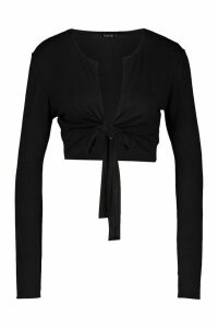 Womens Tie Front Long Sleeve Crop Top - Black - 14, Black