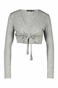 Womens Tie Front Long Sleeve Crop Top - Grey - 16, Grey