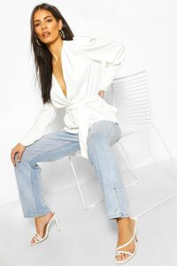 Womens Puff Sleeve Wrap Blouse - White - 6, White