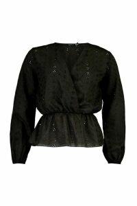 Womens Broiderie Anglaise Peplum Hem Blouse - Black - 14, Black