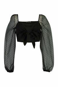 Womens Dobby Mesh Tie Front Crop Top - Black - 16, Black