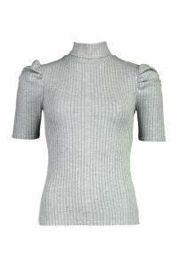 Womens Puff Sleeve Jumbo Rib Top - Grey - 6, Grey