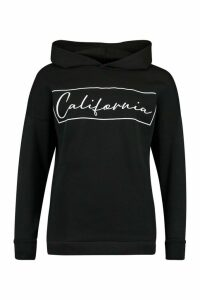 Womens California Oversized Hoodie - Black - 16, Black
