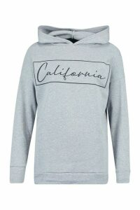 Womens California Oversized Hoodie - Grey - 14, Grey