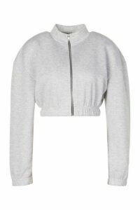 Womens Back Print Zip Neck Crop Sweatshirt - Grey - 16, Grey