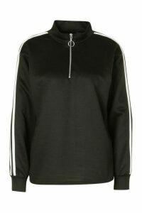 Womens Stripe Sleeve Zip Neck Sweatshirt - Black - 16, Black
