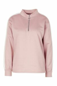 Womens Stripe Sleeve Zip Neck Sweatshirt - Pink - 16, Pink