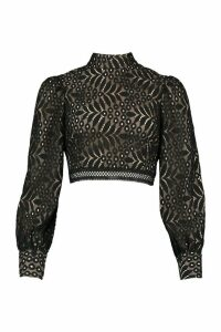 Womens Lace High Neck Longsleeve Crop Top - Black - 14, Black