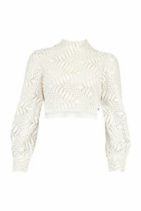 Womens Lace High Neck Longsleeve Crop Top - White - 14, White