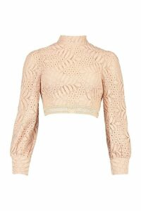Womens Lace High Neck Longsleeve Crop Top - Pink - 14, Pink