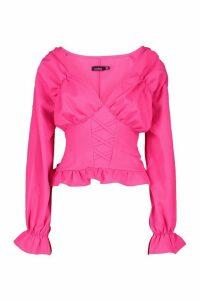 Womens Ruffle Corset Detail Woven Blouse - Pink - 6, Pink