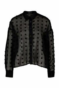 Womens Oversize Dobby Chiffon Shirt - Black - 14, Black