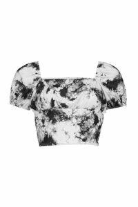 Womens Tye Dye Cap Puff Sleeve Top - Black - 16, Black